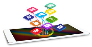 Tablet with application icons Stock Image