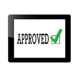 Tablet with approve icon Royalty Free Stock Images