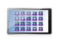 Tablet with apps or buttons illustration design Royalty Free Stock Images