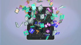 Tablet and apps. 3d animation of a tablet and all the apps it can provide vector illustration