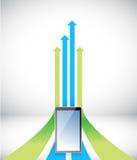 Tablet Arrow rising toward same direction success. Concept illustration design Stock Images