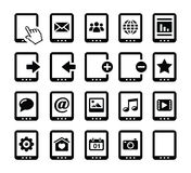 Tablet balck icons set with reflections Stock Photos