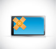 Tablet band aid fix solution concept Stock Images