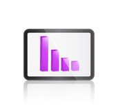 Tablet with Bar Graph on Screen Royalty Free Stock Image