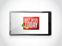 Tablet best offer today sign illustration Royalty Free Stock Photography