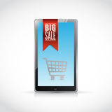 Tablet big sale shopping cart illustration Royalty Free Stock Photo