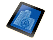 Tablet - Bitcoin Blueprint sketch Royalty Free Stock Image