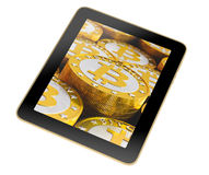 Tablet - Bitcoin Royalty Free Stock Images