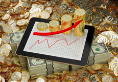 Tablet - bitcoins and dollars - 3D Illustration Royalty Free Stock Photo