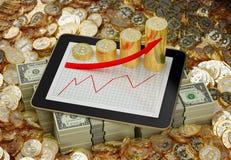 Tablet - bitcoins en dollars - 3D Illustratie Royalty-vrije Stock Foto