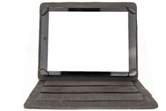 Tablet with black standing case and blank screen Royalty Free Stock Images