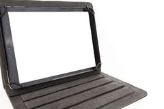 Tablet with black standing case and blank screen Royalty Free Stock Photography