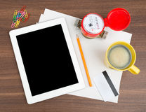 Tablet with blank paper and water meter Stock Photography
