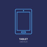 Tablet with blank screen flat line style icon. Wireless technology, mobile device sign. Vector illustration of Royalty Free Stock Photos