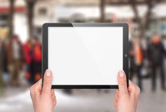 Tablet with blank screen in hand Royalty Free Stock Images