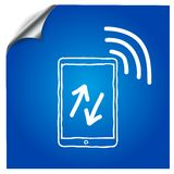 The tablet on a blue background is drawn with a. Marker,with the wireless symbol.for design applications stock illustration