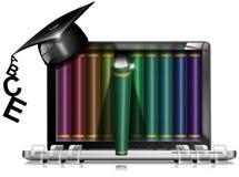 Tablet Bookcase Graduation Hat Stock Images