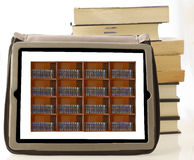 Tablet with books Royalty Free Stock Image