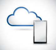 Tablet and border storage cloud. illustration Stock Photography