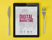 Tablet breakfast digital marketing blog Stock Photos
