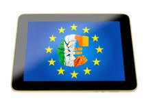 Tablet with broken euro sign - irish flag colors Stock Photo