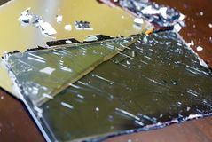 Tablet broken LCD screen. Closeup royalty free stock photos