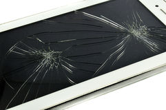 Tablet broken. A Broken Tablet Smart Phone Broken  white background Royalty Free Stock Photo
