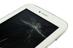 Tablet broken. A Broken Tablet Smart Phone Broken  white background Royalty Free Stock Photography