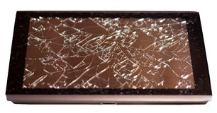 Tablet with broken touchscreen on white background Royalty Free Stock Photo
