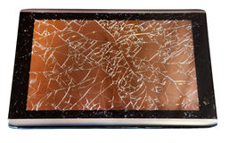 Tablet with broken touchscreen on white Stock Images