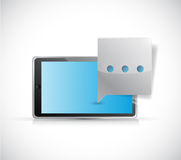 Tablet and bubble communication concept Stock Photo