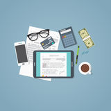 Tablet business charts Royalty Free Stock Image
