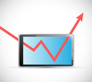 Tablet and business graph arrow illustration Stock Photo