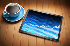 Tablet Computer Business Graph Coffee Royalty Free Stock Image