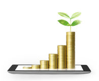 Tablet with business graph and golden coin stock photos