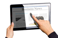 Tablet with business news. Touchpad with business news isolated on white Royalty Free Stock Image
