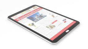 Tablet with Business News Website on screen Royalty Free Stock Photo