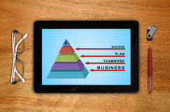 Tablet with business pyramid. Digital tablet with business pyramid chart on screen Royalty Free Stock Images