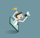 Tablet and businessman with megaphone Royalty Free Stock Image