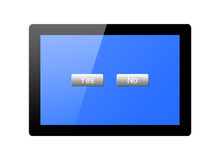 Tablet with button yes and no Stock Photo