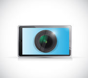 Tablet and camera lens illustration design Royalty Free Stock Image