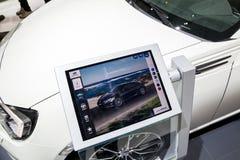 Tablet car information motor show Stock Images