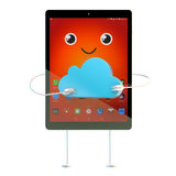 Tablet cartoon character with cloud symbol. Technology concept. 3D illustration. Contains clipping path Royalty Free Stock Photo