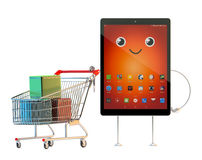 Tablet cartoon character with shopping cart. 3D illustration. Co Stock Photos