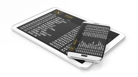 Tablet and cell with timetable information. 3D rendering of pad and cell phone with departures and arrivals schedule.Isolated Royalty Free Stock Photography