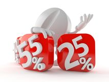 Tablet character behind percentage signs. On white background Stock Image