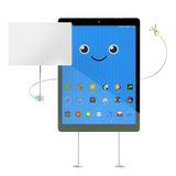 Tablet character with blank board. . 3d illustration wit Royalty Free Stock Photography