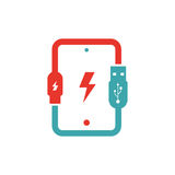 Tablet charging vector ilustration. Royalty Free Stock Images