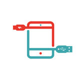 Tablet charging vector ilustration. Stock Photos