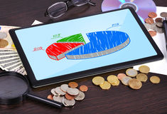 Tablet with chart Royalty Free Stock Image